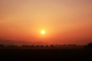 背景素材・朝日のあたる家並みシルエットの写真素材 [FYI01191912]