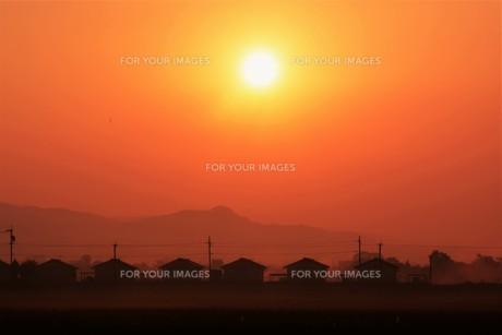 背景素材・朝日のあたる家並みシルエットの写真素材 [FYI01191914]