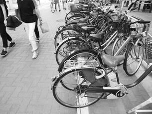 道端の放置自転車の写真素材 [FYI01193857]