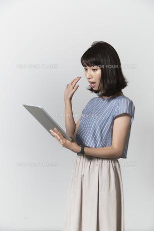 タブレットを操作する若い女性の写真素材 [FYI01194527]