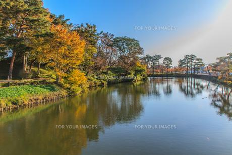 秋の高田城の風景の写真素材 [FYI01194833]