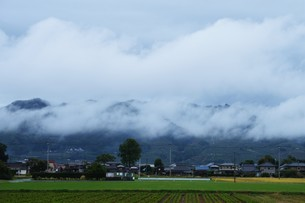 霧の山なみ・晩秋の山里の写真素材 [FYI01195039]