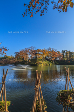 秋の高田城の風景の写真素材 [FYI01195438]