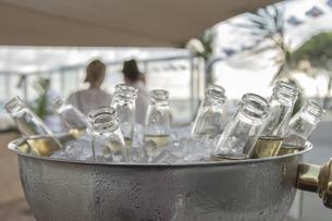 氷で冷やされた瓶のビールたちの写真素材 [FYI01196022]