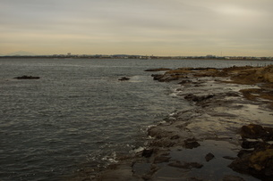 夕暮れの江の島(岩屋)の写真素材 [FYI01196064]