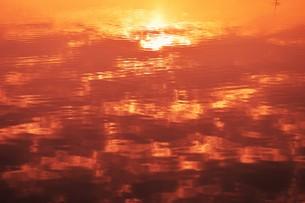 日本の風景・朝日に輝く 筑後川シルエット / 九州福岡県久留米市筑後川のイラスト素材 [FYI01196466]