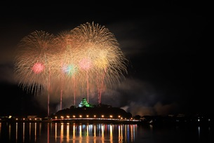 唐津の夜空に咲く花の写真素材 [FYI01196489]