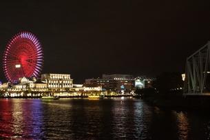 横浜みなとみらい地区の夜景の写真素材 [FYI01197454]