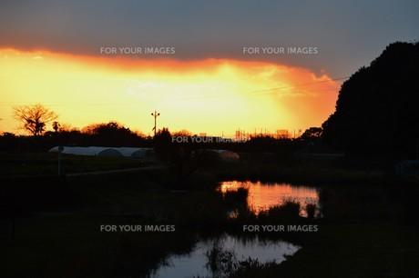 日本の風景・夕景シルエットの写真素材 [FYI01197686]