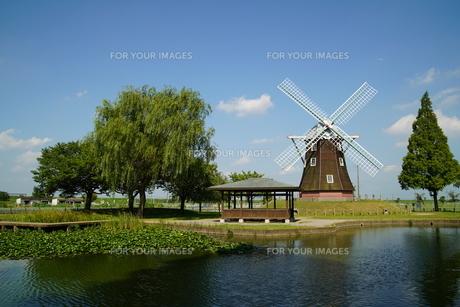 風車のある風景の写真素材 [FYI01197838]