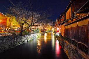 紅葉シーズンの京都祇園白川の夜景の写真素材 [FYI01198229]
