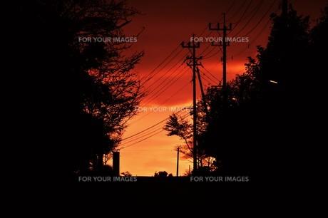日本の風景 ・ 夕焼けシルエット 日暮れの帰りみちの写真素材 [FYI01198738]