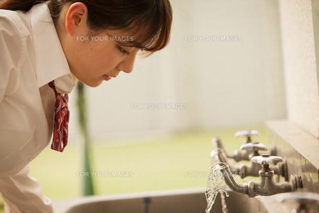 蛇口で水を飲む女子高生の写真素材 [FYI01199264]