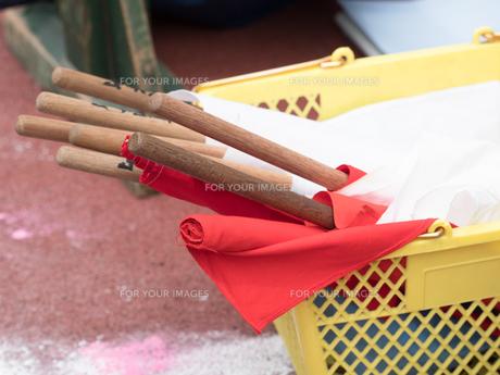 紅白の旗の写真素材 [FYI01199422]