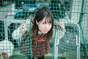 ソフトボール用ネットから顔を出す女子高生2の写真素材 [FYI01199653]