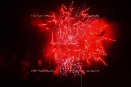 夜空のアート・花火の抽象の写真素材 [FYI01199703]