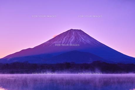 夜明け前の毛嵐が立ち込める精進湖と富士山の写真素材 [FYI01199959]