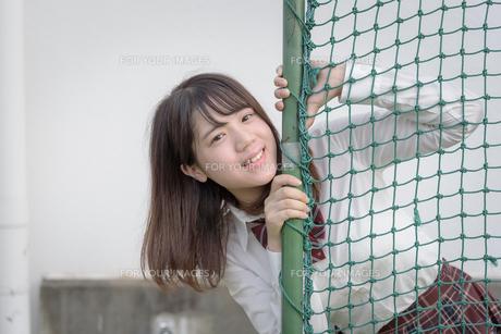 校庭の女子高生の写真素材 [FYI01200403]