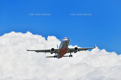 着陸態勢の旅客機の写真素材 [FYI01200416]
