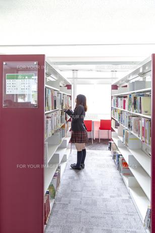 図書室で本を探す女子高生1人、全身の写真素材 [FYI01200656]