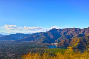 紅葉シーズンの三湖台から西日を受けた西湖と樹海の風景の写真素材 [FYI01200920]