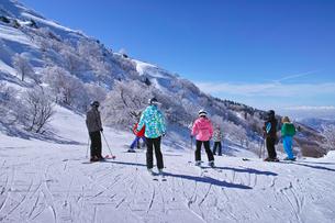 ゲレンデを滑走する前のスキーヤー達の写真素材 [FYI01202271]