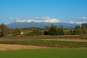 秋の大地と冠雪の山並み 十勝岳連峰の写真素材 [FYI01203325]