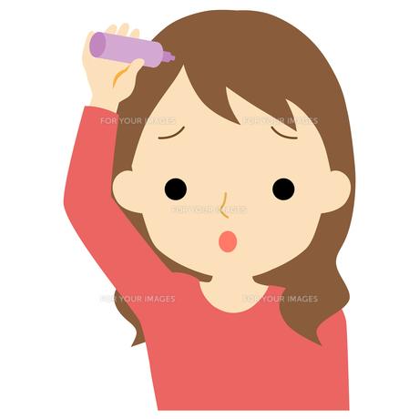 ヘアケアをする女性のイラスト素材 [FYI01203347]