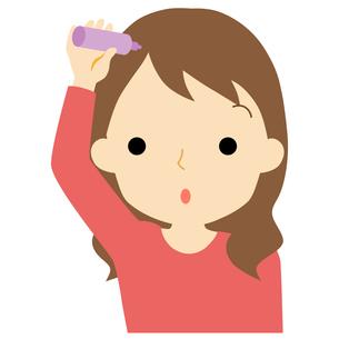 ヘアケアをする女性のイラスト素材 [FYI01203349]
