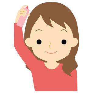 ヘアケアをする女性のイラスト素材 [FYI01203353]