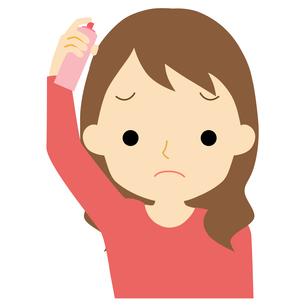 ヘアケアをする女性のイラスト素材 [FYI01203354]