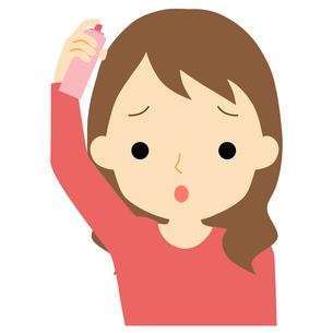 ヘアケアをする女性のイラスト素材 [FYI01203355]