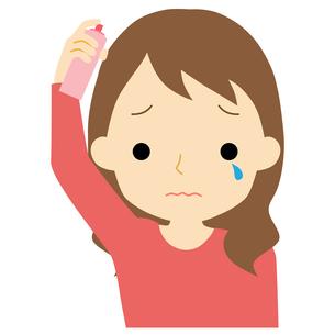 ヘアケアをする女性のイラスト素材 [FYI01203356]