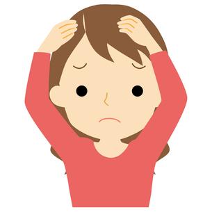 頭皮に悩みがある女性のイラスト素材 [FYI01203359]