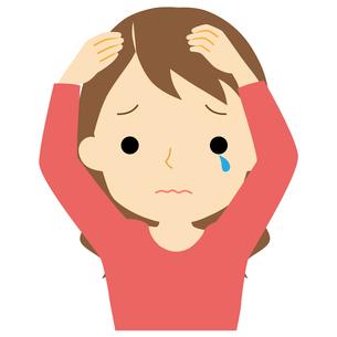 頭皮に悩みがある女性のイラスト素材 [FYI01203360]