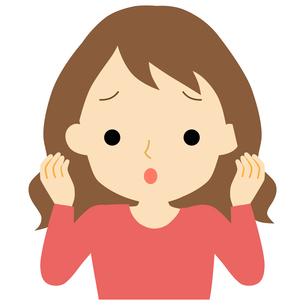 広がる髪に悩む女性のイラスト素材 [FYI01203370]