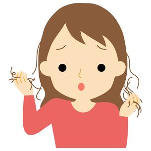 抜け毛に悩む女性のイラスト素材 [FYI01203371]