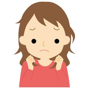 くせ毛に悩む女性のイラスト素材 [FYI01203375]