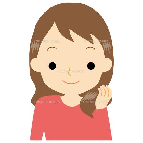 艶のある髪の女性のイラスト素材 [FYI01203379]