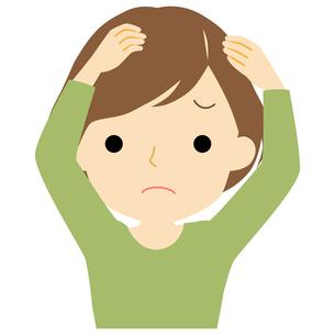 頭皮に悩みがある女性のイラスト素材 [FYI01203504]