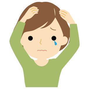 頭皮に悩みがある女性のイラスト素材 [FYI01203505]