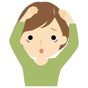 頭皮に悩みがある女性のイラスト素材 [FYI01203506]