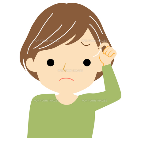白髪に悩む女性のイラスト素材 [FYI01203512]