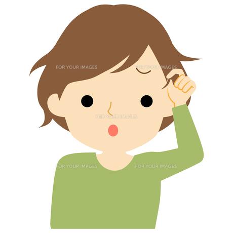 くせ毛に悩む女性のイラスト素材 [FYI01203519]