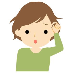 くせ毛に悩む女性のイラスト素材 [FYI01203521]