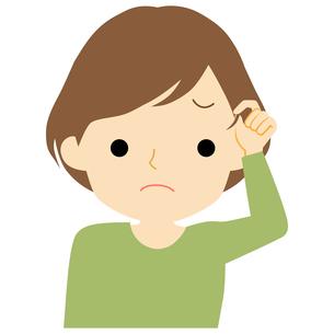 髪の毛に不満を持つ女性のイラスト素材 [FYI01203531]