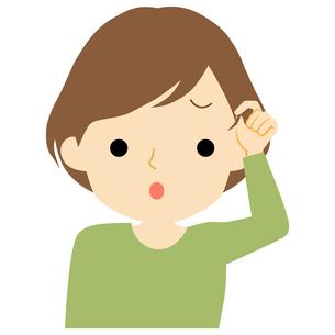 髪の毛に不満を持つ女性のイラスト素材 [FYI01203532]