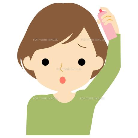 ヘアケアをする女性のイラスト素材 [FYI01203536]