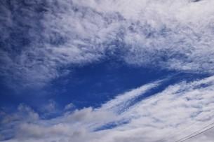 青い空と白い雲(夏から秋への序曲)・ 秋空ただよふ雲の一人となる 種田山頭火の写真素材 [FYI01203643]