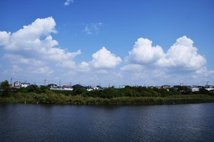 青い空と白い雲(夏から秋への序曲)・ 秋空ただよふ雲の一人となる 種田山頭火の写真素材 [FYI01203664]